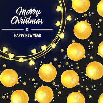 Letras de feliz natal com enfeites amarelos