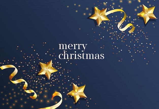 Letras de feliz natal com estrelas de ouro e fitas