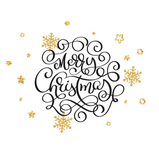Letras de feliz natal com flocos de neve dourados
