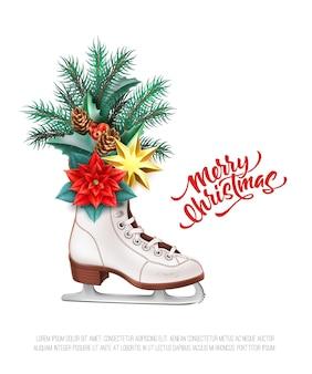 Letras de feliz natal com folhas de azevinho