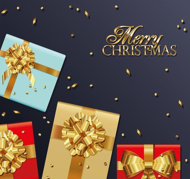 Letras de feliz natal com ilustração de caixas de presentes