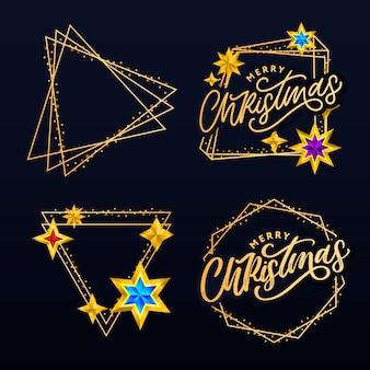 Letras de feliz natal com moldura dourada e coleção de estrelas