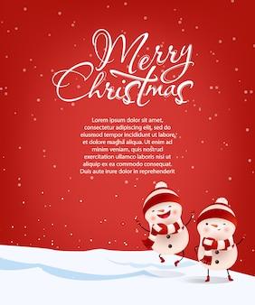 Letras de feliz natal com texto de amostra e bonecos de neve