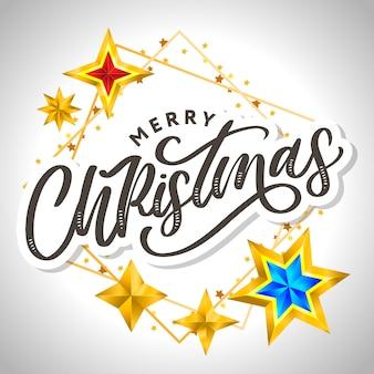 Letras de feliz natal e estrelas em fundo cinza