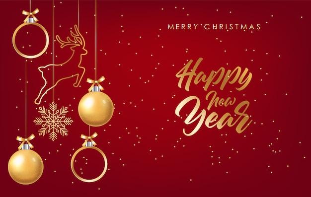 Letras de feliz natal e feliz ano novo com decorações de natal