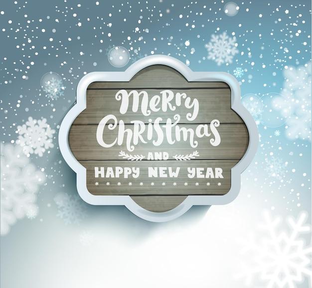 Letras de feliz natal e feliz ano novo em uma moldura de madeira cinza no fundo desfocado nevado com flocos de neve. ilustração em vetor.