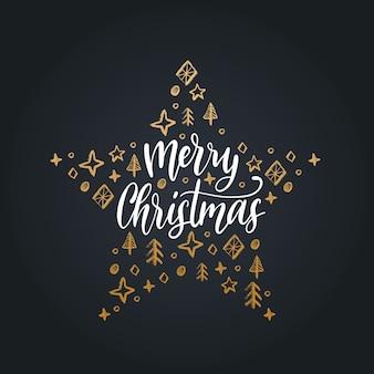 Letras de feliz natal em fundo preto. mão ilustrações desenhadas de estrela.