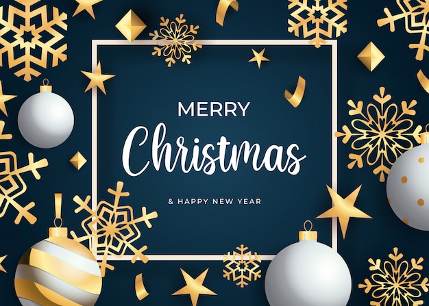 Letras de feliz natal, flocos de neve dourados e bolas