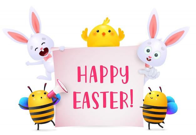 Letras de feliz páscoa com personagens de coelhinhos, frango e abelhas