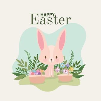 Letras de feliz páscoa com um lindo coelhinho rosa e uma cesta cheia de desenhos de ilustração de ovos de páscoa