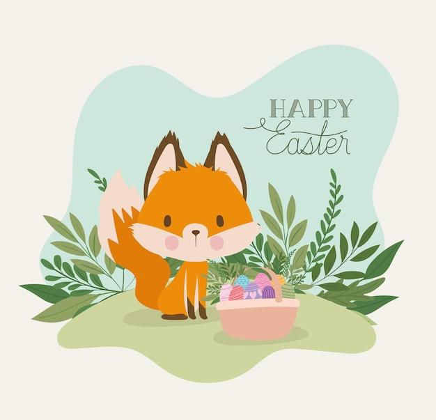 Letras de feliz páscoa com uma raposa fofa e uma cesta cheia de ovos de páscoa ilustração design