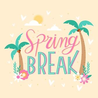 Letras de férias de primavera com palmeiras