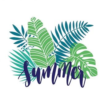 Letras de férias de verão tropical