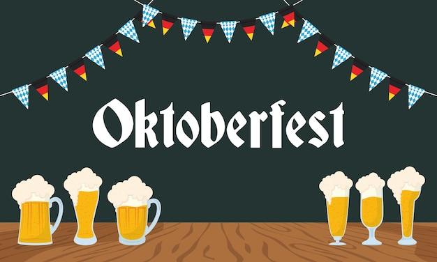 Letras de festa da oktoberfest com design de ilustração vetorial de cervejas e guirlandas