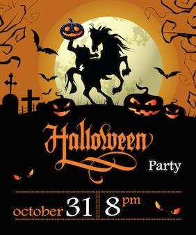 Letras de festa de halloween com data, cavaleiro sem cabeça e lua