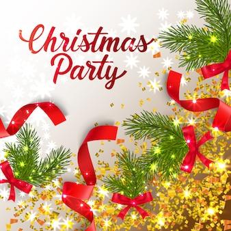 Letras de festa de natal com galhos de confete e abeto