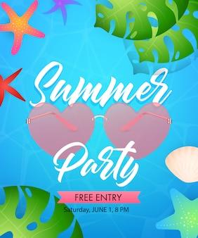 Letras de festa de verão com óculos em forma de coração