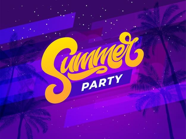 Letras de festa de verão em fundo ultravioleta com palmeira