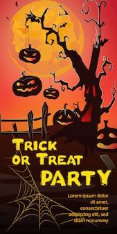 Letras de festa doces ou travessuras. abóboras pendurado na árvore assustador