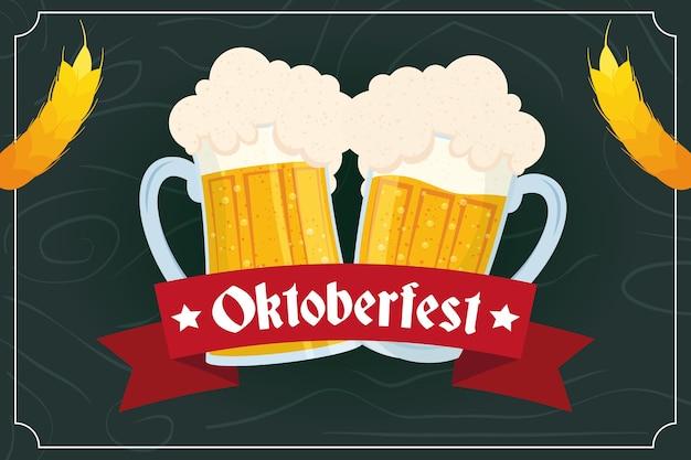 Letras de festa oktoberfest em fita com design de ilustração vetorial de potes de cerveja