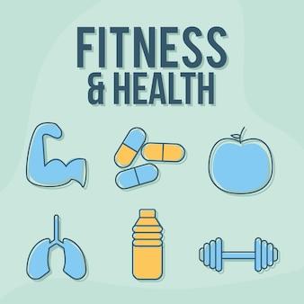 Letras de fitness e saúde com um conjunto de ícones de fitness e saúde
