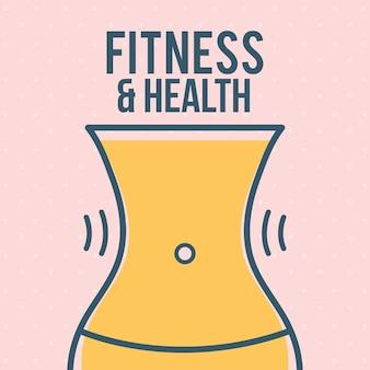 Letras de fitness e saúde com uma cintura