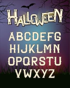 Letras de fonte de halloween, cartaz com floresta escura à noite Vetor Premium
