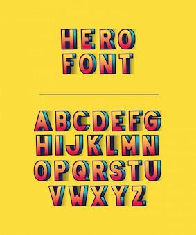 Letras de fonte de herói com alfabeto em design de fundo amarelo, tipografia retro e tema cômico