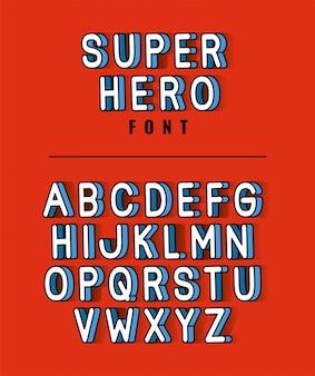 Letras de fonte de super-herói com alfabeto em design de fundo vermelho, tipografia retro e tema cômico