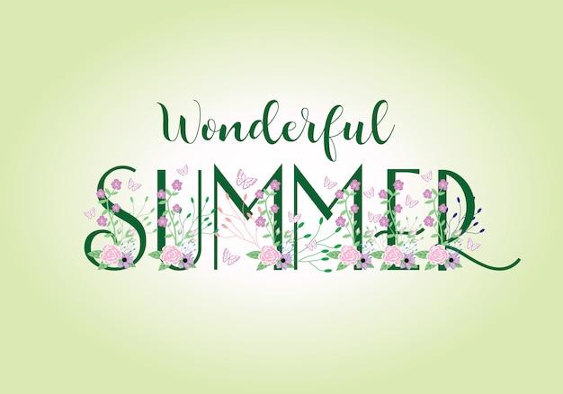 Letras de formulação de tipografia de verão