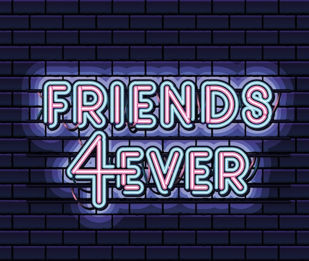 Letras de friends 4ever em fonte neon de cor rosa e azul em design de ilustração azul escuro