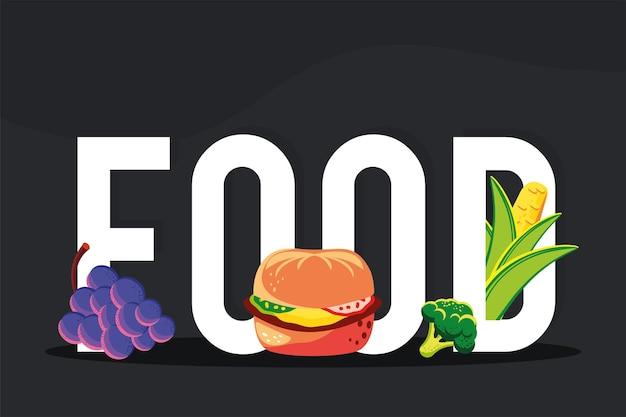 Letras de frutas, hambúrguer de vegetais e comida
