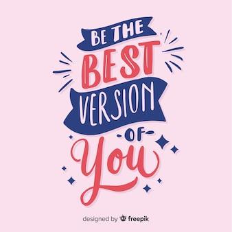 Letras de fundo com citação motivacional