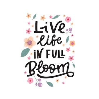 Letras de fundo positivo com flores