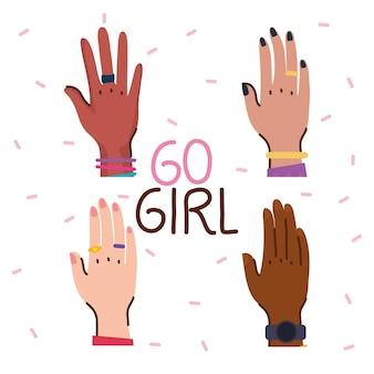 Letras de garota com ilustração de mãos de diversidade