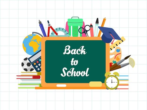Letras de giz lousa plana conceitual com ilustração de ícones de educação. de volta ao conceito de infográficos de escola. objetos de livro, paleta, boné de graduação, mochila, pincel e despertador.