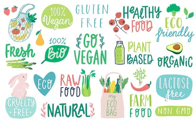Letras de go vegan vegetais eco orgânicos naturais e outros elementos