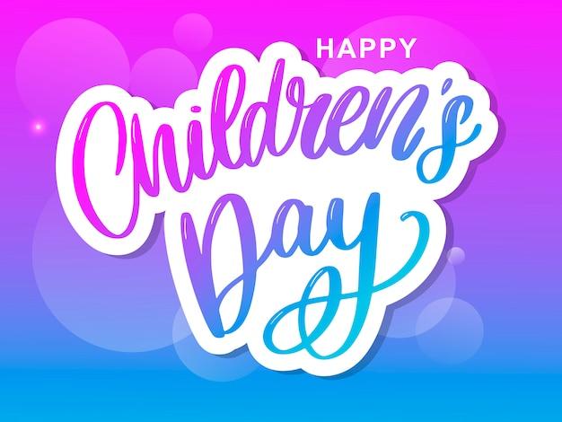 Letras de gradiente de dia das crianças