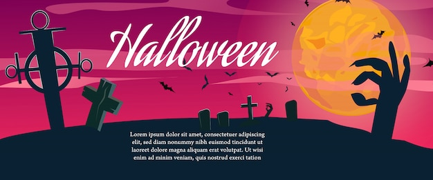 Letras de halloween com texto de exemplo e cemitério