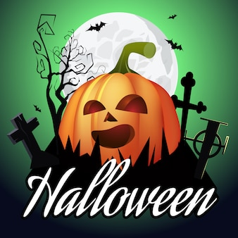 Letras de halloween. jack o lanterna no cemitério, árvore e lua
