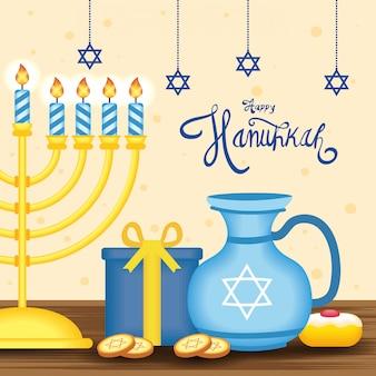 Letras de hanukkah feliz com candelabro