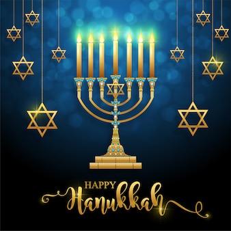 Letras de hanukkah feliz com menorá de ouro e cristais no fundo.