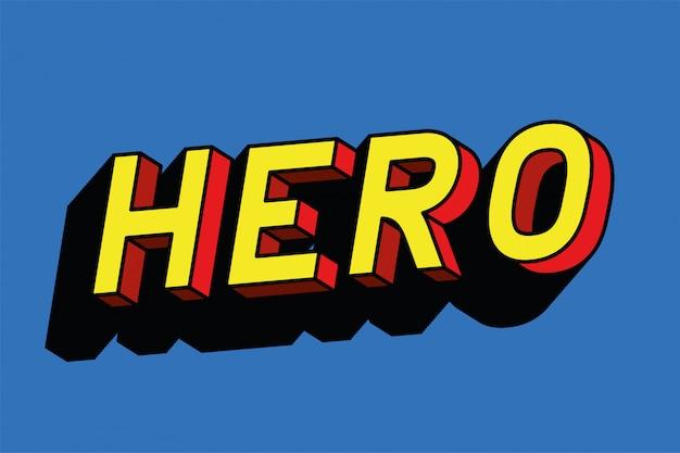 Letras de herói em design de fundo azul, tipografia retro e tema cômico