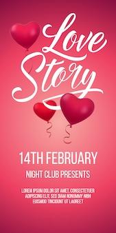 Letras de história de amor com balões em forma de coração