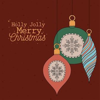 Letras de holly jolly merry christmas com desenho de ilustração de bolas de natal