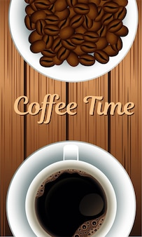 Letras de hora do café com grãos no prato e copo de fundo de madeira