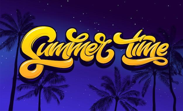 Letras de horário de verão com palmeira e céu noturno. letras para etiqueta, banner, cartaz, brochura, folheto, cartão. letras de mão desenhada. caligrafia de escova moderna. .