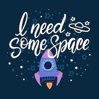 Letras de ilustração de um foguete espacial voando entre estrelas.