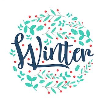 Letras de inverno rodada flor de neve e design de vetor de folha