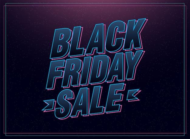 Letras de itálico rosa e azul preto venda sexta-feira